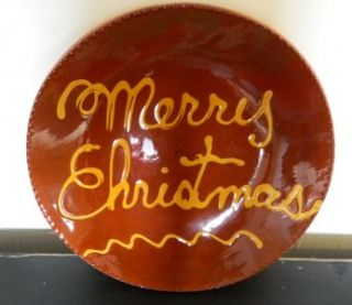 Lester Breininger Redware Merry Christmas Plate Signed and Dated