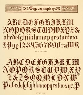 1913 Lithograph Typography Alphabet Old English Font Original
