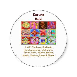12 Reiki n Karuna Reiki Healing Designs Round Stickers