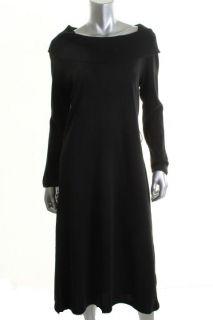 Leonard Black Ribbed Cowl Neck Long Sleeve Casual Dress L BHFO