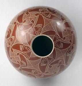 Mata Ortiz Pottery by Leonel Lopez Sgraffito Olla