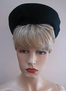 Vintage Black Felt Beret Style Hat Merrimac 938