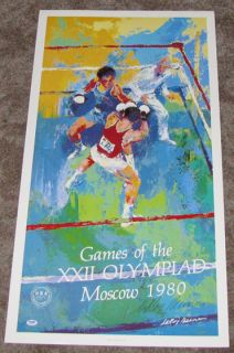 Leroy Neiman Signed Autographed PSA DNA 20x38 1980 Olympics Poster