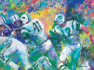 Leroy Neiman Hand Off Super Bowl 3 Joe Namath NY Jets