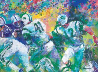 Leroy Neiman Hand Off Super Bowl 3 Joe Namath NY Jets