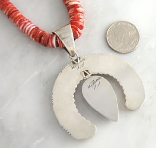 Navajo Lester James Sterling Silver Spiny Oyster Shell & Coral Naja