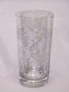 Libbey Glass 4 Christmas 15oz White Snowflake Tumblers Glasses
