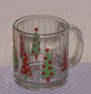Libbey Glass 4 Christmas Tree 13oz Glass Coffee Mugs