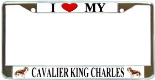 King Charles Love My Dog Photo Chrome Metal License Plate Frame Holder