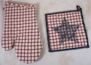 Plaid Navy Stenciled Star Liberty Quilted Oven Mitt Potholder