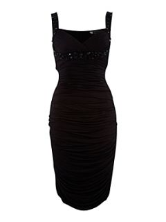 JS Collections Jewel scoop side ruched dress Black