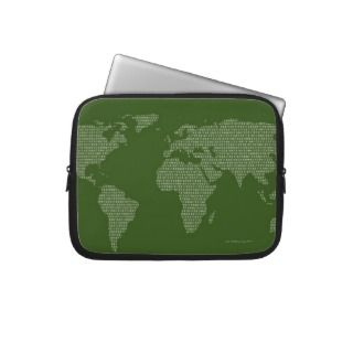 World Map Made in Binary Code Laptop Computer Sleeves