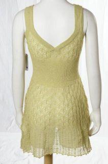 Lilja Light Olive Green Lightweight Sheer Knit Sleeveless Mini Dress