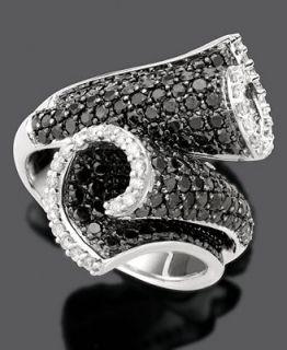 14k White Gold Ring, Black and White Diamond Scroll (2 1/3 ct. t.w.)