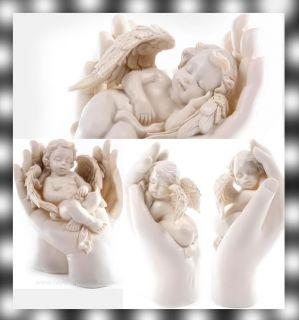 Cherub Angel Sleeping in Hands Figurine Statue Wings OM