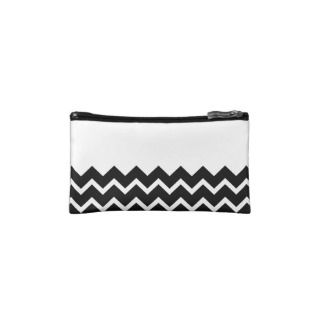 Black and White Zig Zag Pattern. Part Plain. Cosmetic Bag