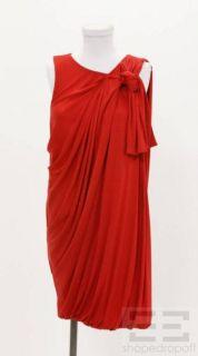 Phillip Lim Red Jersey Knit Draped Sleeveless Silk Dress Size