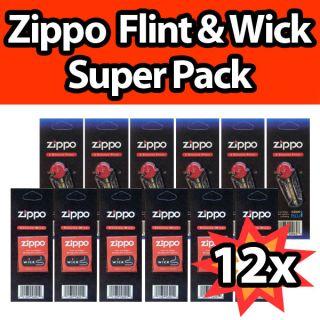 12 Zippo Lighter Wick Flint Genuine Value Pack 6X Wicks 6X Flint Set