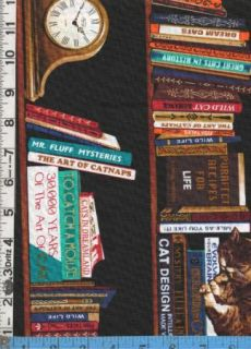 Fabric Timeless Cats Library Books Shelves Stripe Blk