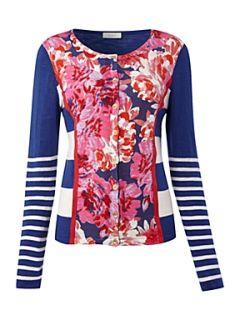 Oui Floral print cardigan Blue