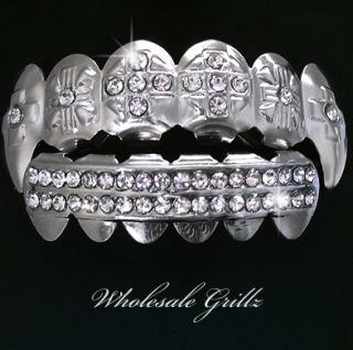 Lil Jon Platinum Styl Silver Fang Iced Out Teeth Grillz
