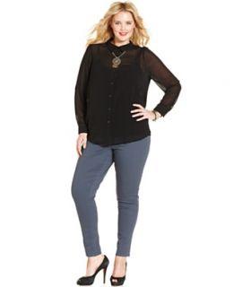 American Rag Plus Size Long Sleeve Sheer Front Blouse & Polka Dot