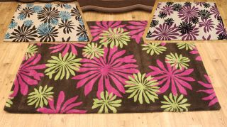 Large Chocolate Pink Lime Green Teal Purple Black 100 Wool Rugs