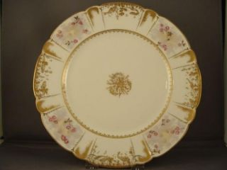 Antique Haviland Limoges Plate Gold Fish Eels Aquatic
