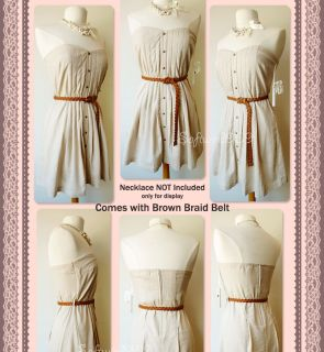 Sweetheart Pleated Button Accent Linen Blend Strapless Dress with BELT