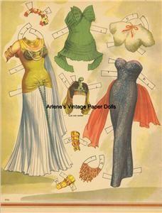 Vintge 1953 Linda Darnell Paper Doll Lazer RPRO ORG Sz