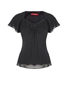 Jacques Vert Black chiffon top Black