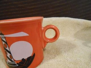 Fiesta Ware Paprika Dark Orange Light House Coffee Cup Mug USA