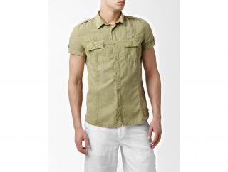Calvin Klein Mens Slim Shrt Slv Linen Blnd Casual Shirt