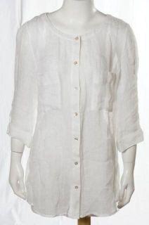 Fisher Sheer Lightweight White Linen Button Down Tunic Top Shirt Small