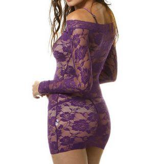 New Sexy Open Lingerie Red Black Purple Lace Flower Mini Dress Mesh