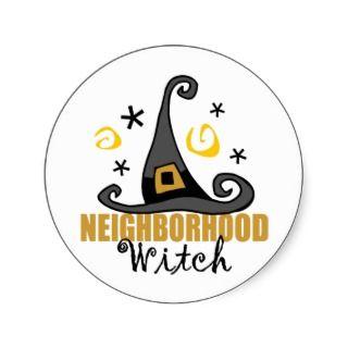 Funny Halloween Neighborhood Witch Stickers