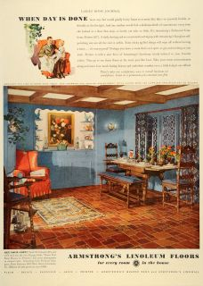 1936 Ad Armstrongs Linoleum Floors Pattern 6271 Home   ORIGINAL