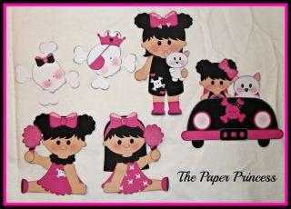 Scrapbook Premade Handmade Paper Pieced Girl Emo Pink Kitty Car Skulls