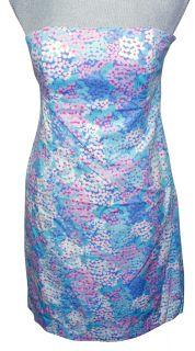 Lilly Pulitzer Franco Dress Worth Blue Dot Dot Hop Strapless Shift New