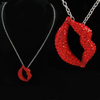Beautiful Sexy Ruby Red Crystals Lips Pendant Necklace