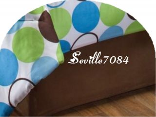 8P Twin Dot Comforter Blue Brown Green Sheets Val Pillo