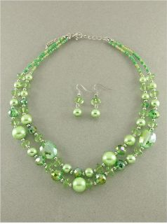 Chunky Light Lime Green Pearl Glass Silver Bead Rhodium Necklace