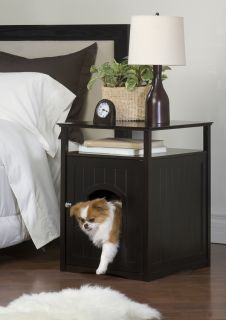 New Espresso Wood Cat Litter Cover Nightstand Pet House Home 20 x 18 x