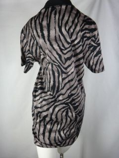 Linda Lundstrom M Medium Zebra Animal Print Shift Dress Stretch Cotton
