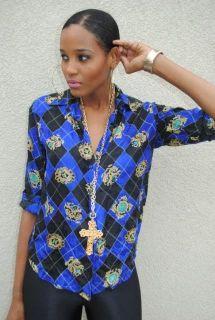 multicolored SCARF PRINT harlequinn LIQUID SILK shirt BLOUSE top M