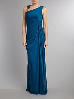 Adrianna Papell Evening Grecian style drape detail dress Turquoise