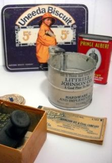 Old Store Vintage Advertising Mixed Lot Tins Uneeda Milk Shoe More $25