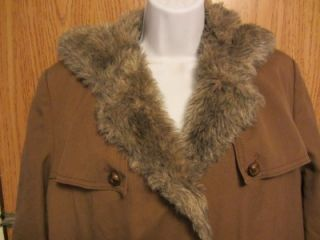 Vintage Bonders Calendar Cloth Faux Fur Lined Coat with Hood