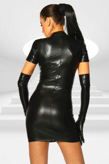 Goth Punk PU Wetlook Laceup Front Mini Dress Clubwear Stripper Wear