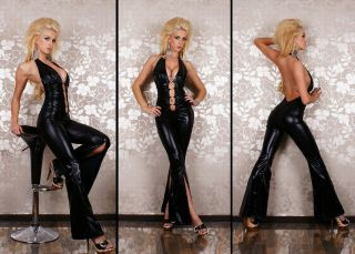 This Diamond Accessories Black Metallic Club Jumpsuit is made by